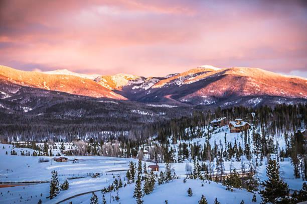 Grand Lake Winter Mountain sunset stock photo