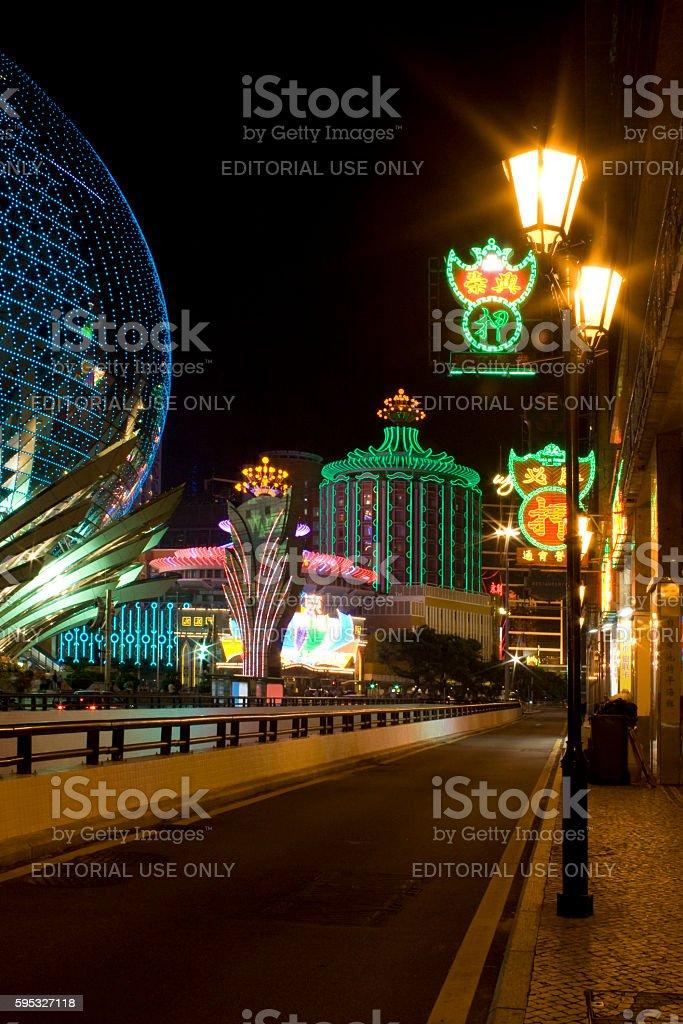 Grand Lisboa and Casino Lisboa in Macau stock photo