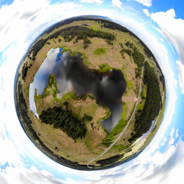 Grand Mesa National Forest, CO, Tiny Planet View stock photo