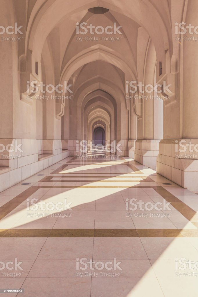 grand mosque archway in muscat, oman stock photo