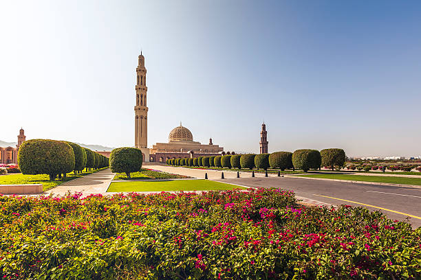 grand mosque muscat oman beautiful sultan qaboos grand mosque in muscat, oman. grand mosque stock pictures, royalty-free photos & images