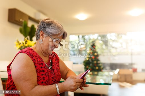Gran mother send marry christmas on smart phone.