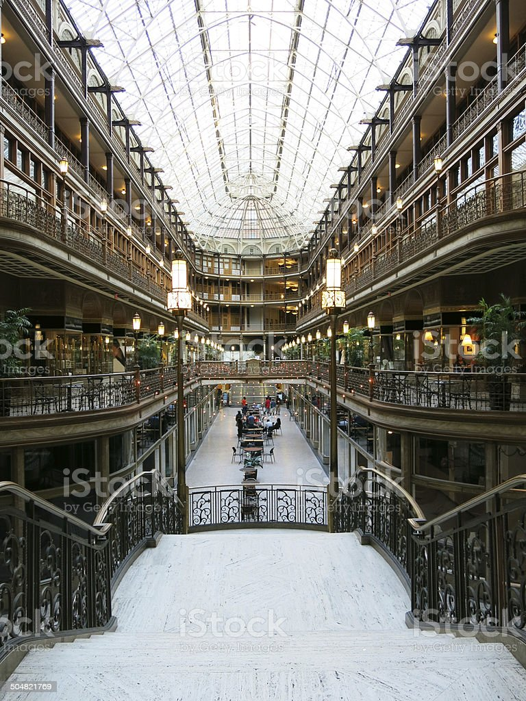 Grand Old Arcade with Glass Ceiling, Cleveland, Ohio stock photo