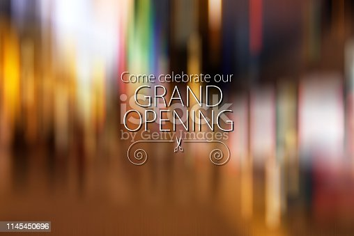 Image of Grand Opening Banner Design with Color Starburst Background.