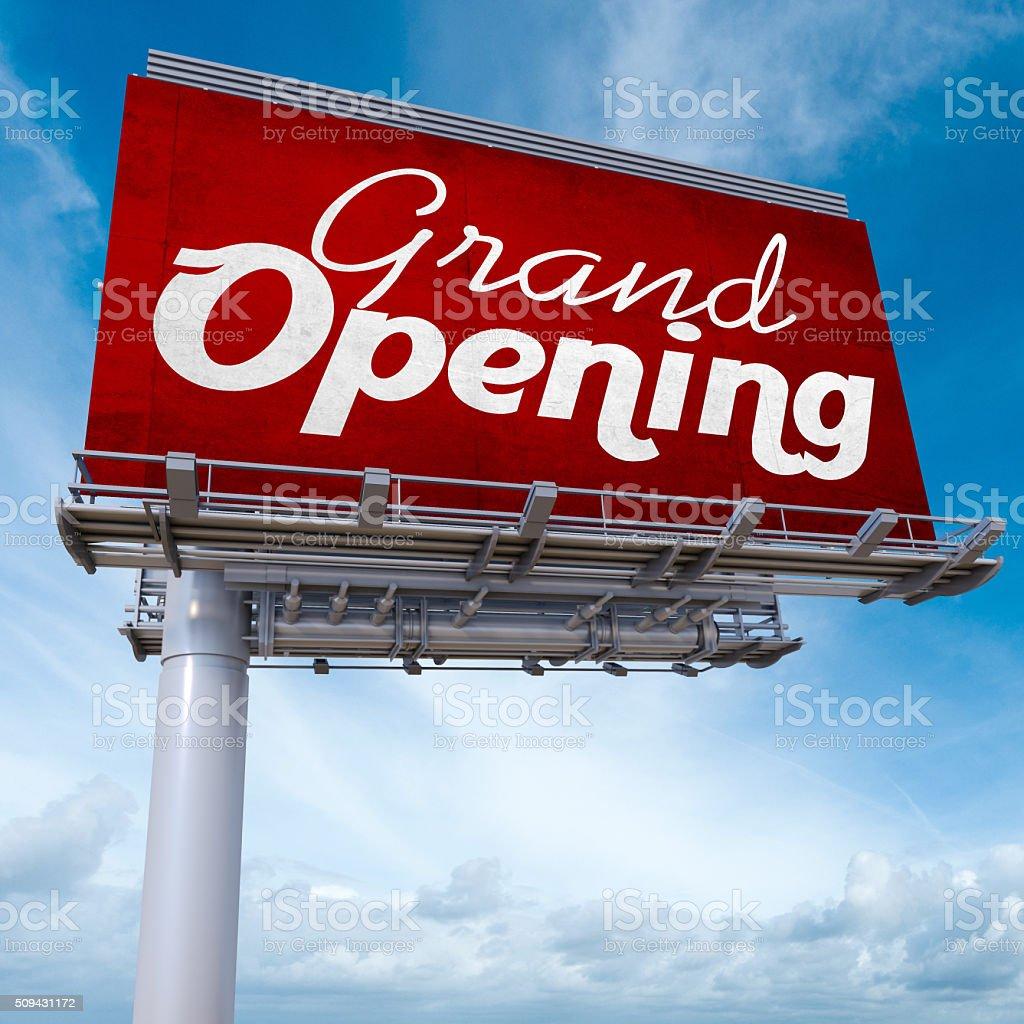 Grand opening billboard stock photo