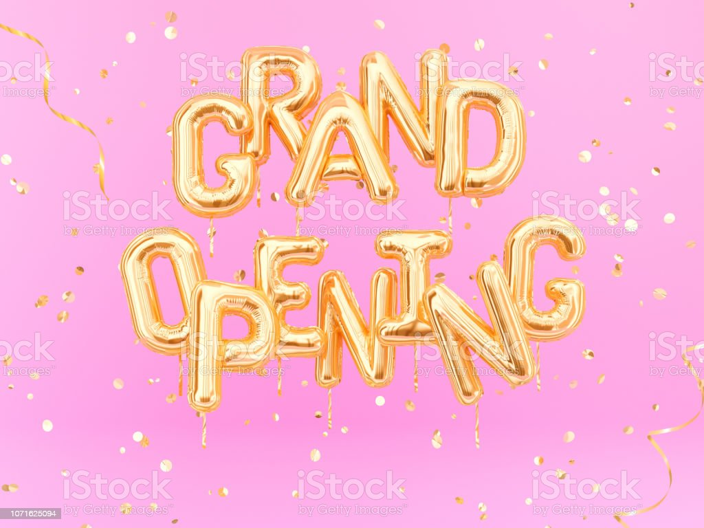 Grand Opening phrase sign letters with golden confetti. Grand opening celebration banner. stock photo