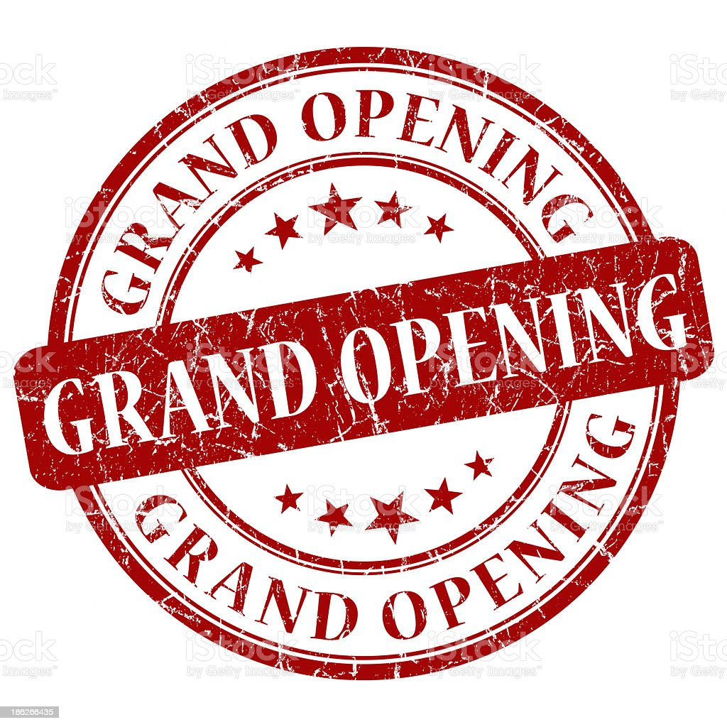 grand opening red stamp stock photo