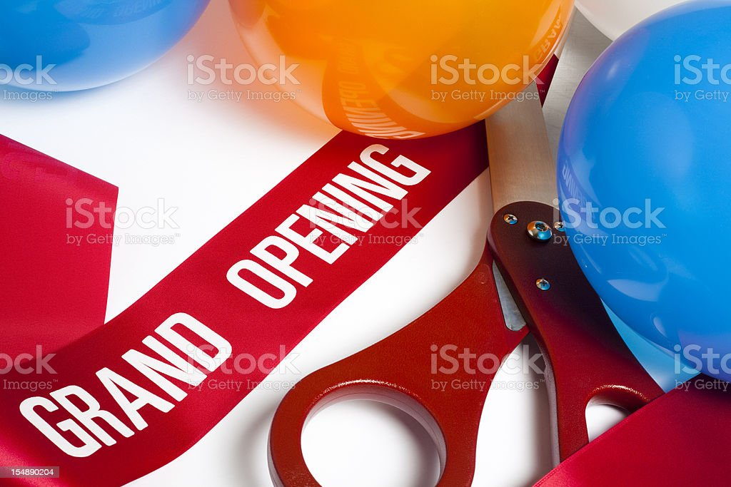 Grand Opening ribbon balloons and scissors stock photo