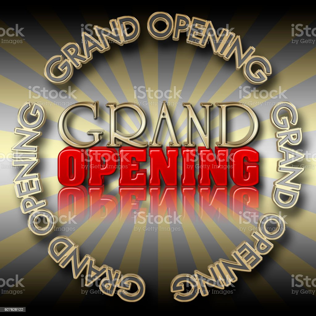 Grand Opening Text stock photo