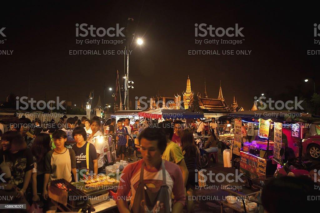 Grand Palace Bangkok and Night Market royalty-free stock photo