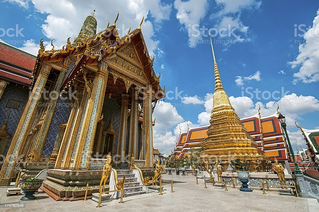 Grand Palace in Bangkok and Wat Phra Kaew Temple Interior stock photo