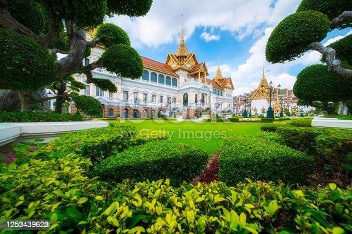 Grand Palace or Wat Phra Kaew is landmark in Bangkok, Thailand. The Emerald Buddha temple.