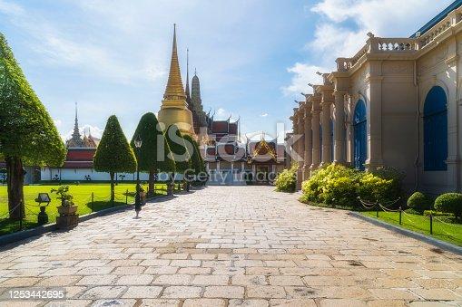 Grand Palace or Wat Phra Kaew is landmark in Bangkok, Thailand. The Emerald Buddha temple.
