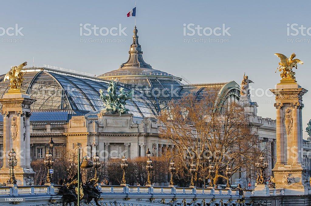 grand palais and Pont Alexandre III  paris city France stock photo