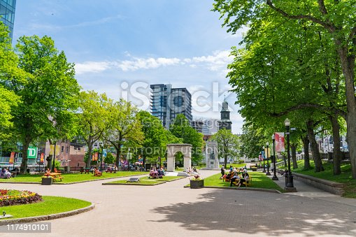Halifax, Canada - June 19, 2019: Grand Parade Square in downtown Halifax, Nova Scotia, Canada