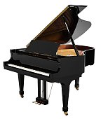 Grand piano black open with clipping path.