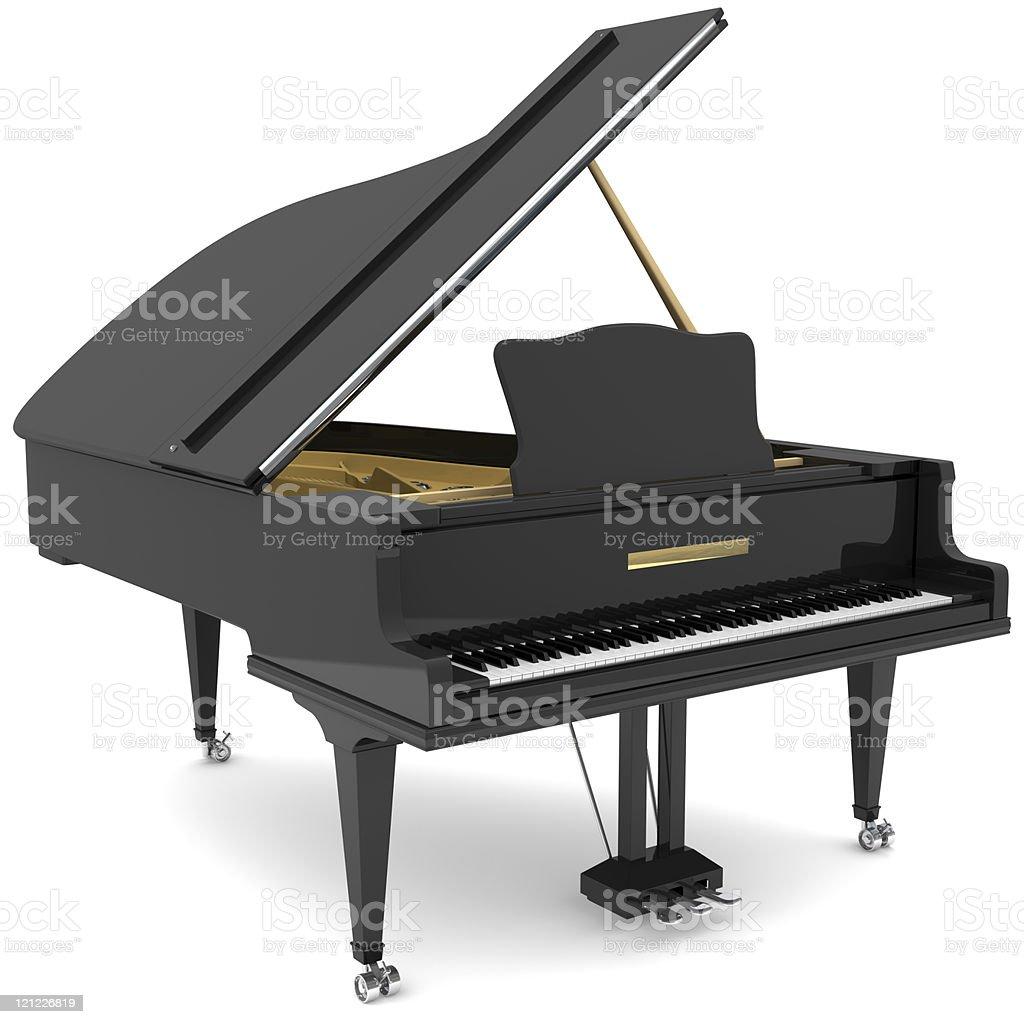 Grand piano. Black royalty-free stock photo