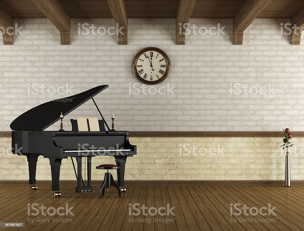 Grand piano in a empty room royalty-free stock photo