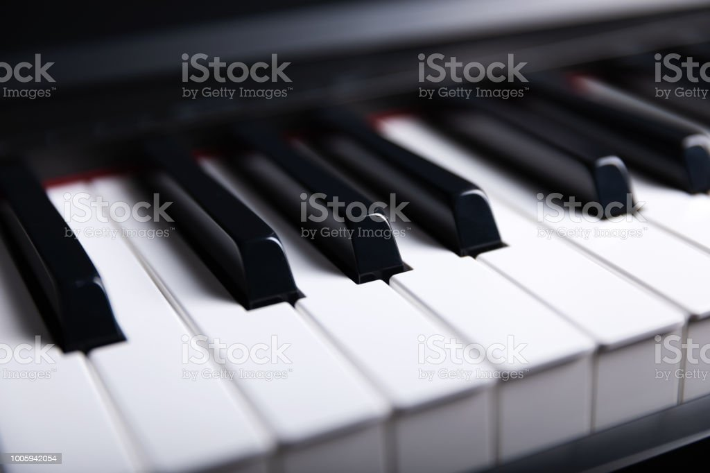 Grand Piano Keyboard With Glossy Black And White Keys As A