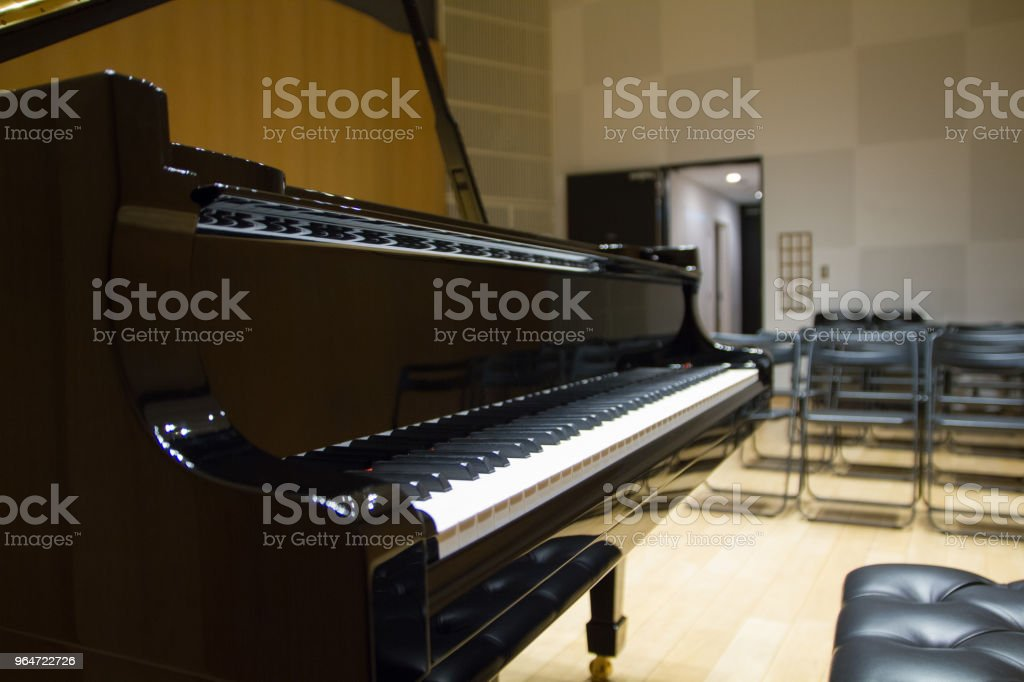 Grand Piano on Stage, Rehearsal royalty-free stock photo