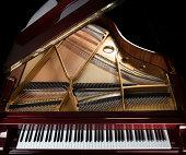 high-gloss mahogany grand piano keyboard, strings, and inside
