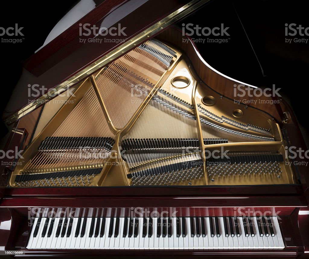 grand piano overview, keyboard, strings, and inside stock photo