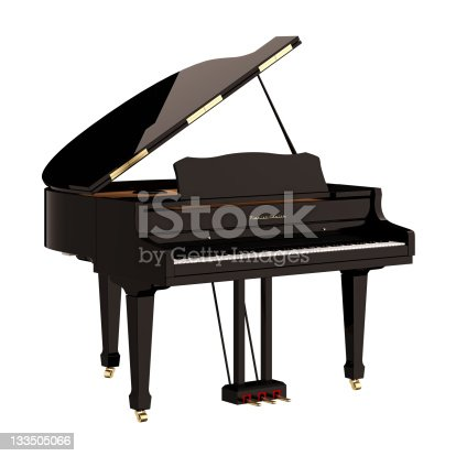 Grand piano on white background.