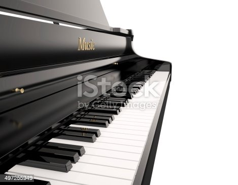 Grand piano with copy space , 3d render