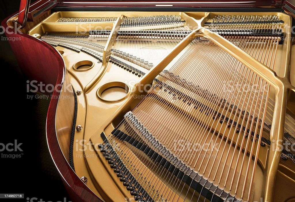 grand piano strings stock photo