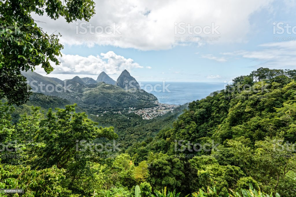 Grand pitons on island of st lucia in the caribbean. stock photo