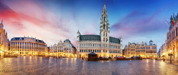 Grand Place in Brussels in night, Belgium stock photo