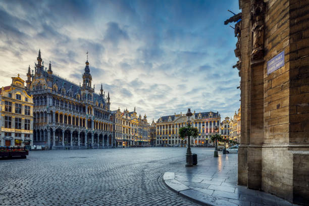 Grand Place Square in Brussels, Belgium The Grand Place (Grand Square) or Grote Markt (Grand Market) is the central square of Brussels. Built structures dates back to between 15th and 17th century. belgium stock pictures, royalty-free photos & images
