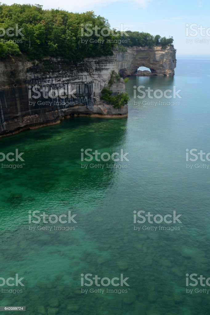 Grand Portal Point, a Rock Formation Along Pictured Rocks National Lakeshore stock photo