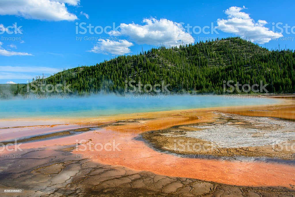 Grand Prismatic Spring in Yellowstone National Park, Wyoming USA stock photo