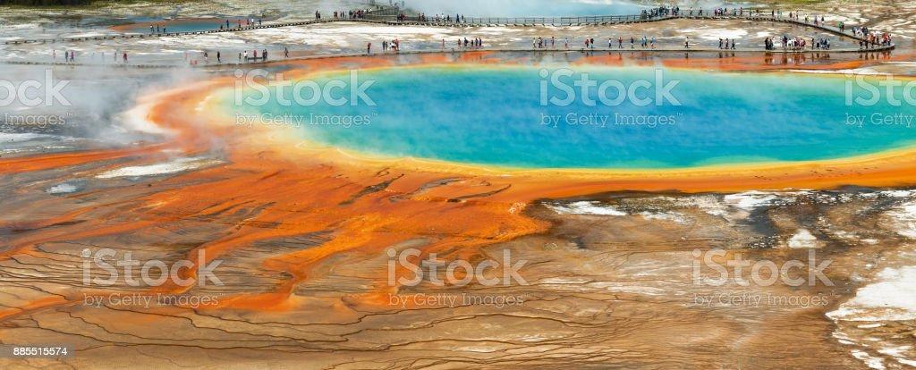 Grand Prismatic Spring Panoramic stock photo
