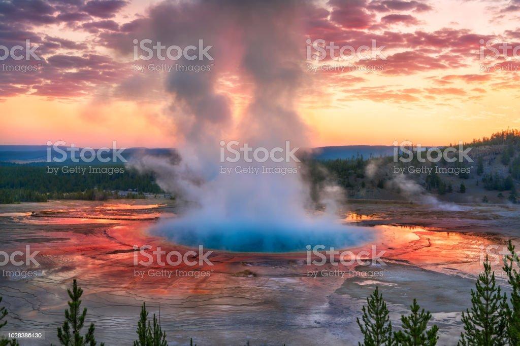 Grand Prismatic Spring Sunrise, Yellowstone National Park, WY Grand Prismatic Spring Sunrise, Yellowstone National Park, WY Adult Stock Photo