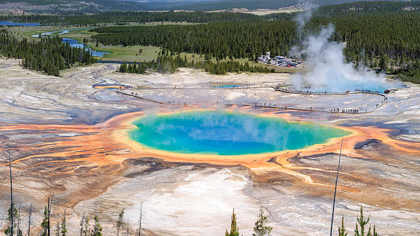 grand prismatic spring, yellowstone national park - caldera bildbanksfoton och bilder