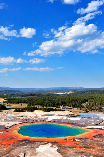 Grand prismatic spring at sunny blue sky, , Yellowstone National Park, USA.