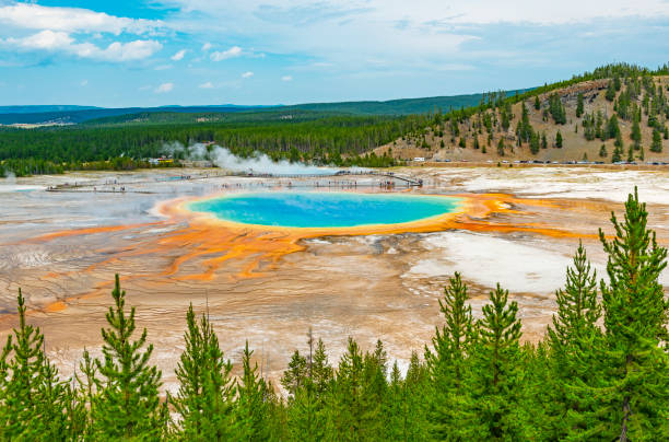 Grand Prismatic Spring, Yellowstone, Wyoming stock photo