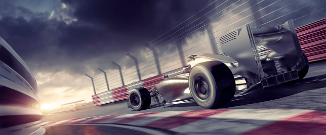 istock Grand Prix High Speed Racing Car On Racetrack At Sunset 517267760
