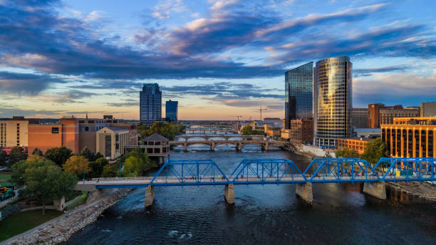 Grand Rapids Aerial at Sunset with River and Bridges stock photo