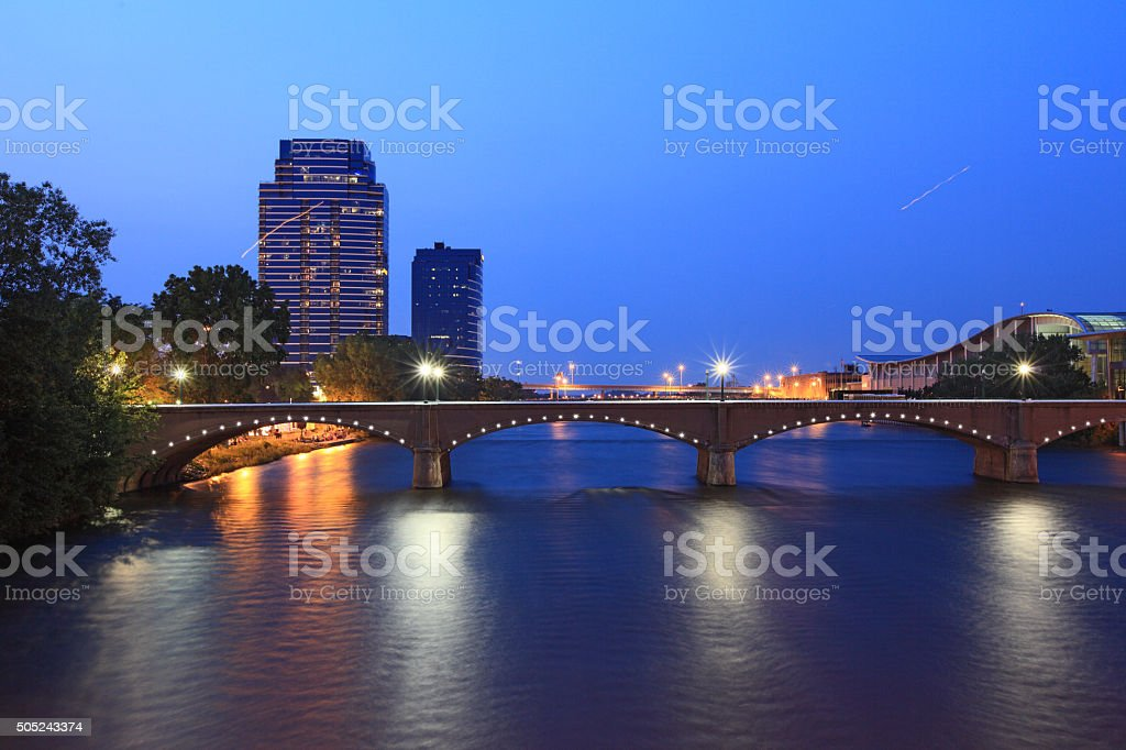 Grand Rapids Bridge stock photo
