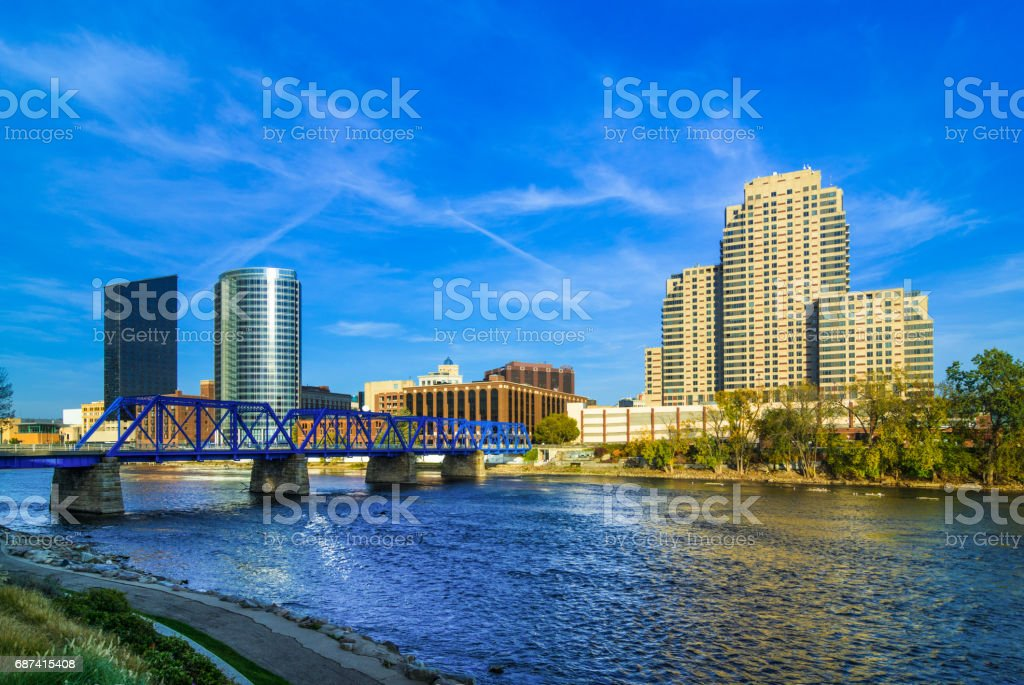 Grand Rapids Downtown Skyline with Bridge and River stock photo