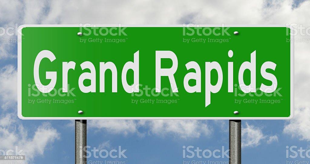 Grand Rapids highway sign stock photo