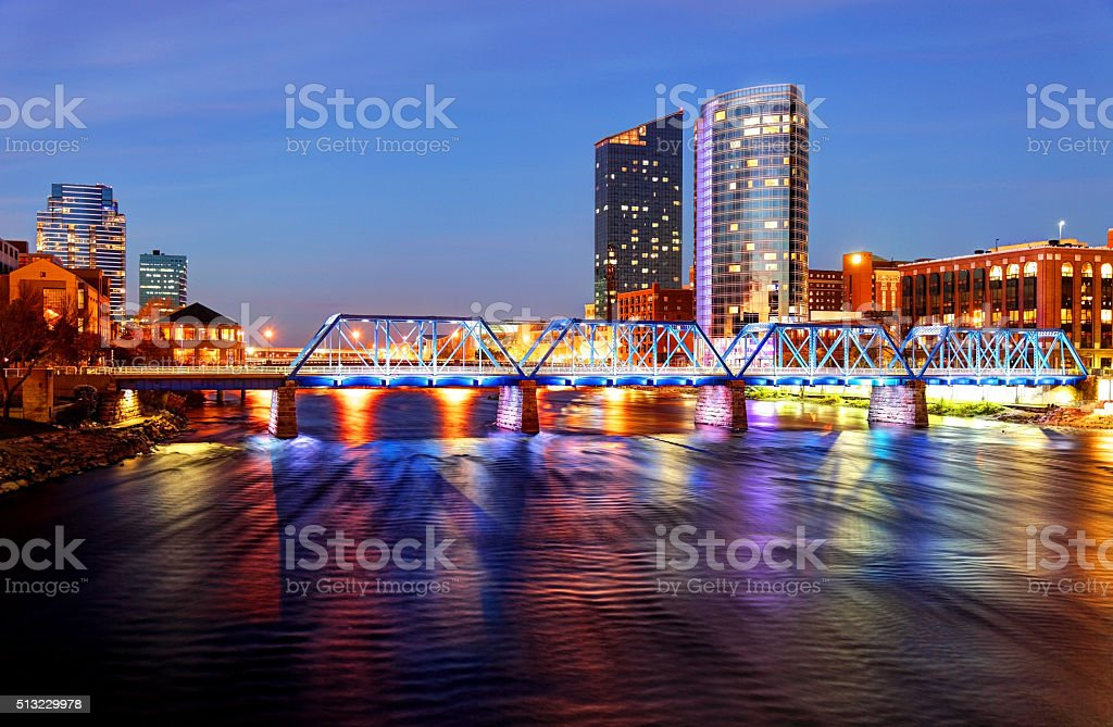 Grand Rapids Michigan skyline along the banks of the Grand river stock photo