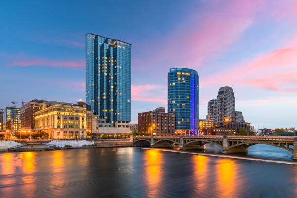 Die Skyline der Innenstadt Grand Rapids, Michigan, USA – Foto