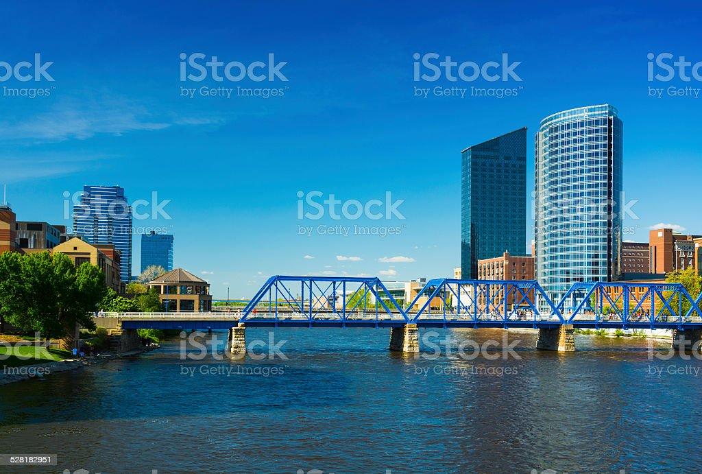 Grand Rapids skyline and bridge stock photo