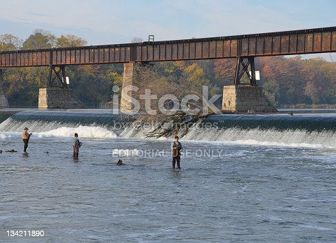Caledonia, Ontario, Canada - October 11, 2011: a group of unnamed Anglers fishing near the Caledonia Dam in the  lower Grand River on a Autumn morning, Caledonia, Ontario, Canada