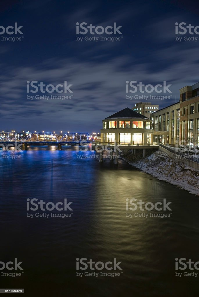 Grand River at Night stock photo