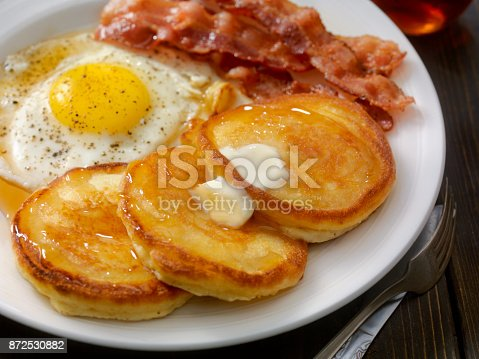Grand Slam Breakfast - Pancakes, Bacon and Eggs